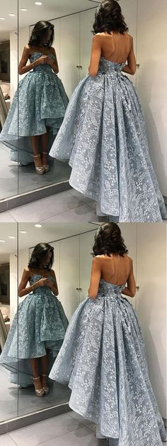 High Low Sweetheart Sleeveless Light Sky Blue Lace Prom Dress with Appliques