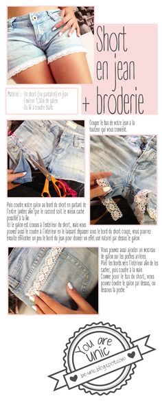 Do it Yourself : short en jean + broderie / denim short + embroiderie