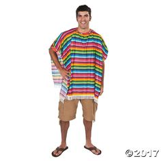 Fun Fiesta Mexican Poncho. Bright stripes and fringe give this poncho a festive look! A Fun Fiesta Poncho is the perfect choice for a Southwestern theme ...