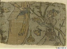 Textile Fragment Depicting Figures in a Landscape, Iran (Islamic).  Dated AH 1008/AD 1599-1600.  Silk, metal wrapped thread, lampas.  Metropolitan Museum of Art.