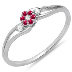 14K White Gold Round Ruby And White Diamond Ladies Bridal Swirl Split Shank Cluster Promise Ring *** To view further, visit now : Promise Rings