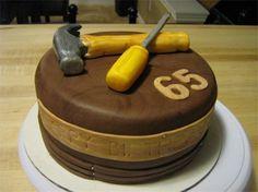 cake I made for my dad. Handyman cake, tools, wood grain, man cake