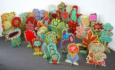 BARBARA GILHOOLY POP-UP GARDEN acrylic, enamel, on wood, cut-out with slotted stands (c) Barbara Gilhooly