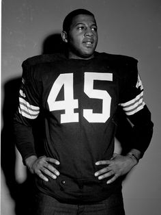 MARCH 5, 1962: Running back Ernie Davis #45 of the Cleveland Browns poses for an image after being the first player selected in the 1962 NFL Draft on March 5, 1962 in Berea Ohio
