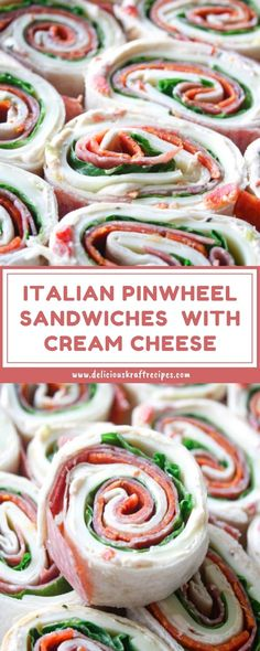 Nowadays I'm going showing you steps to make the common team sandwich.This double decker sandwich is using thi Roll Up Sandwiches, Pinwheel Sandwiches, Cream Cheese Sandwiches, Pinwheel Appetizers, Pinwheel Recipes, Italian Appetizers, Cheese Appetizers, Italian Snacks, Cream Cheese Spreads