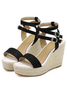 Black Buckle Wedge Sandals