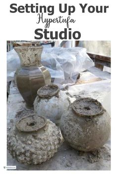 Setting up your hypertufa studio is not rocket science but there are few things to take into consideration. Concrete Crafts, Concrete Projects, Concrete Garden, Concrete Planters, Garden Junk, Garden Art, Georgia Gardening, Concrete Sculpture, Sculpture Garden