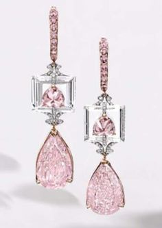 Rare and Exquisite Pair of 4.01 Carat Fancy Intense Purple Pink Diamond, 3.72 Carat Fancy Intense Purplish-Pink Diamond and Diamond Pendent Earrings
