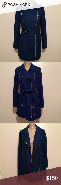 Host PickMICHAEL KORS Sapphire Blue Wool Coat NWOTMICHAEL KORS Sapphire Blue Wool Trench Style Coat, can be worn so many different ways and dressed up or down, Details:  fully lined, beautiful gold hardware detail, point collar, zipper closure, front pockets. Size 6 but fits like a 6/8 Medium. Coat has been never been worn due to warm Texas weather.  This coat is to beautiful to keep sitting in my closet. ✨Price is Firm✨ MICHAEL Michael Kors Jackets & Coats Trench Coats