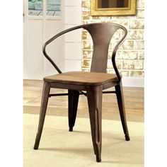 Furniture of America Olmsted Metal Framed Dining Side Chairs - Set of 2