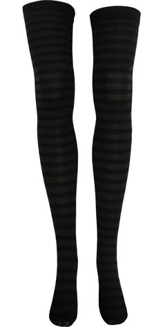 Stripe Opaque Thigh High in Black and Brown
