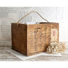 Vintage Wooden Crate, Wooden Box, Rope Handle, Rustic Home Decor,... ($55) ❤ liked on Polyvore featuring home, home decor, small item storage, writing box, wood box, wooden box, wood crate and wooden crates