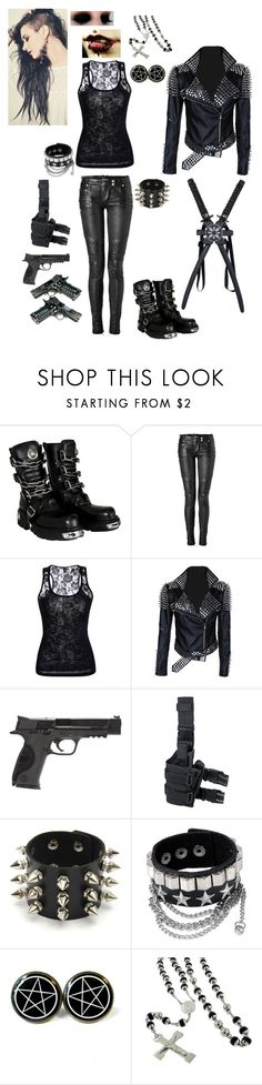 """""""Demon Hunter"""" by serenity-sempiternal2006 ❤ liked on Polyvore featuring Balmain, Smith & Wesson and International"""