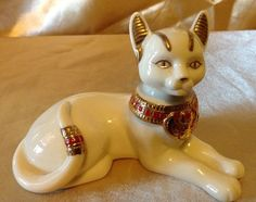 Retired Bastet The Egyptian #Cat Laying Figurine by #Lenox #Ivory White 1999