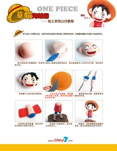 Como hacer a Luffy en porcelana fria