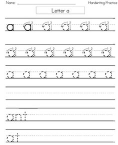 Best Tracinghandwriting And Cursive Images  Learning  Free Handwriting Worksheets For Kindergarten  Block Style Print