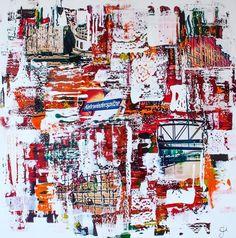 """Abstrakte Collage: """"Alte Welt"""".   Fotografie und Acrylmalerei auf Canvas. 100x100 cm"""