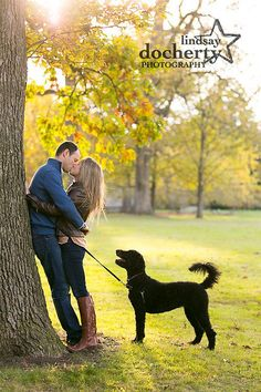 Engagement session with goldendoodle Engagement Photo Outfits, Engagement Photo Inspiration, Engagement Pictures, Engagement Shoots, Wedding Engagement, Couple Photography, Engagement Photography, Animal Photography, Fall Family Pictures