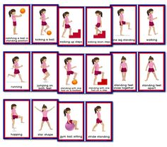 Gross Motor Activities Flashcards - Girl Set Two - Primary Treasure Chest Physical Education Games, Health Education, Physical Activities, Activities For Kids, Motor Skills Activities, Team Building Activities, Gross Motor Skills, Pe Lessons, Cue Cards
