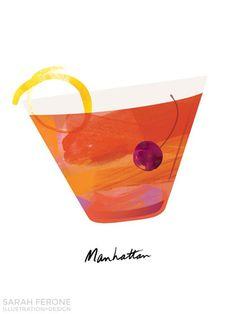 Portfolio for Sarah Ferone Illustration and Design Cocktail Illustration, Graphic Illustration, Illustrations, Manhattan Cocktail, Wedding Reception Signs, Wine Art, Craft Cocktails, Pastel Blue, Party Time