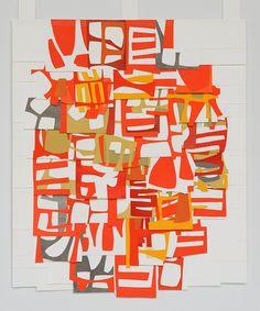 Raymond Saa gouache collage on sewn paper