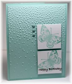 handmade birthday card ... monochromatic mint ... butterflies on twinchies ... great card from Scrappin' and Stampin' in GJ ... Stampin' Up!
