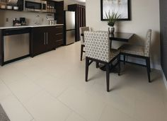 Very nice tile flooring in this dining room and kitchen space