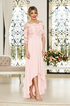 StarShinerS lightpink occasional asymmetrical cloche dress accessorized with tied waistband Bridesmaid Dresses, Prom Dresses, Wedding Dresses, Baptism Dress, Dress Cuts, Lace Fabric, Special Occasion Dresses, Size Clothing, New Dress