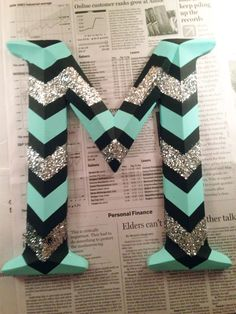 Glittered Chevron Monogram