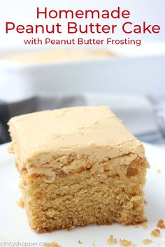My homemade Peanut Butter Cake with Peanut Butter Frosting is an old school recipe that will quickly become a family favorite. You will find the moist cake loaded with peanut butter flavor. Then we top it with the best peanut butter frosting. Peanut Butter Frosting, Peanut Butter Desserts, Homemade Peanut Butter, Peanut Butter Sheet Cake, Peanut Cake, Peanut Butter Bread, Peanut Butter Layer Cake Recipe, Easy Peanut Butter Recipes, Butter Rice