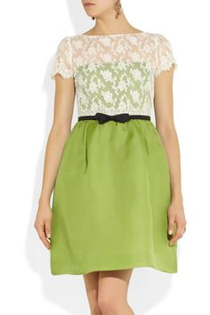 Valentino|Lace and silk-organza dress|NET-A-PORTER.COM