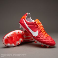 Nike Football Boots - Nike Tiempo Legend IV FG - Firm Ground - Soccer Cleats - Sunburst-White-Total Crimson