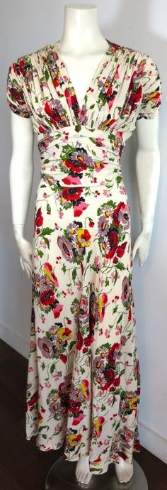 Vintage 1940's era floral bouquet printed dress - I LOVE the bias cut and flattering empire waist of that era