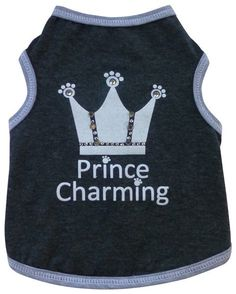 Prince Charming Jeweled Crown Tank Tee in color Charcoal Gray