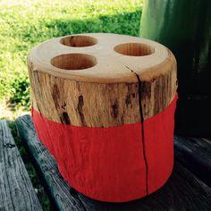 bougeoir en bois peint