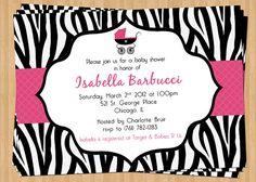 Zebra Print Baby Shower Invitation  Pink by TheOlivePressPaper, $15.75