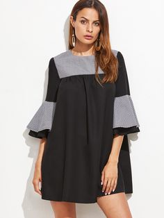 Black Contrast Checkered Neck Bell Sleeve Tent Dress — € ---color: Black size: M,S,XS Trendy Fashion, Korean Fashion, Womens Fashion, Fashion Trends, Casual Day Dresses, Cute Dresses, Tent Dress, Fashion Sewing, Fashion Details