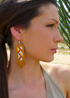 these are adorable! i could make these easy.... ~~~~~~~~~~~~~~~~~``` Native American Handmade Beaded Leather Earrings by EarthArtistry