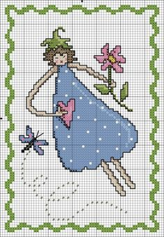 0 point de croix femme coeur fleur - cross stitch woman, girl with heart and flower