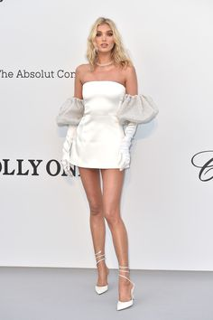 Little White Dresses Ideas elsa hosk little white satin cocktail dress amfar gala cannes 2019 Little White Dresses. Here is Little White Dresses Ideas for you. Little White Dresses us 1280 vintage tea length wedding dress 2019 with sleeve. Look Fashion, Runway Fashion, High Fashion, Fashion Show, Fashion Design, Fashion Wear, Elsa Hosk, Looks Chic, Looks Style