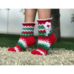 Set od 2 Knitting Christmas Socks Pattern, Instant downlod DIY Christmas knitting pattern for Ankle and Knee woman socks, Red Green White Christmas Stocking Pattern, Knitted Christmas Stockings, Christmas Diy, Merry Christmas, Xmas, Lace Knitting Patterns, Christmas Knitting Patterns, Floral Socks, Patterned Socks