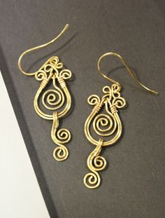 SALE - 10 DOLLARS ONLY - Artisan Handcrafted Brass Filigree Earrings via Etsy