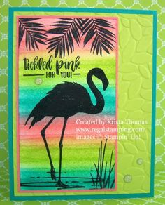 Fabulous Flamingo on Water Striped Background. On watercolor paper, sponge three different colors in a striped fashion, from one end of the paper to the other. Silhouette stamp - great technique to highlight Vintage Typography, Vintage Logos, Watercolor Background, Watercolor Paper, Retro Logos, Bird Cards, Stamping Up, Rubber Stamping, Handmade Birthday Cards