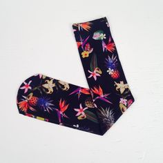 Strathcona Black Tropics Stocking Beautiful knee high stocking. Digitally printed in small quantities. Strathcona Stockings Accessories Hosiery & Socks