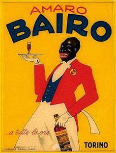 vintage Italian advertising poster — Amaro Bairo, Torino, 1930s