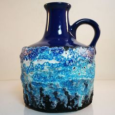 West German Pottery Vase • Roth • with a blue white fat lava glaze •