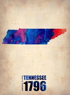 Tennessee Watercolor Map Digital Art