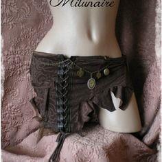 Sur-jupe / ceinture - jupe courte marron steampunk