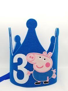 Cumple George Pig, Peppa Pig Y George, George Pig Party, George Pig Cake, Peppa Pig Birthday Cake, 2nd Birthday, Rebecca Rabbit, Cumple Peppa Pig, Felt Crown