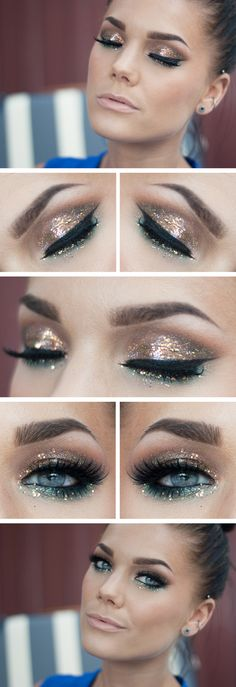 """TODAY'S LOOK : """"EVEN FAKE JEWELRY SHINES"""" -Linda Hallberg (glitter, glitter and more glitter!!! This look just screams mermaid to me... taupes, rose gold, and teal with lots of shimmer and of course, glitter! 05/16/13 Used: MAC eyeshadows Mythology, Brown, Dazzle Light, MUG eyeshadows Envy, Appletini..."""